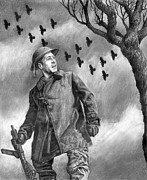 World War 2 Drawings Prints - Squadron Print by Mark Zelmer