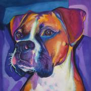 Boxer Puppy Paintings - Square Boxer Portrait by Robyn Saunders