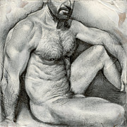 Male Nude Drawings - Square Composition 1 by Chris  Lopez