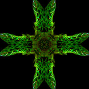 Smoke Trails Prints - Square cross Smoke Art Print by Karl Wilson