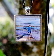 Bay Jewelry - Square Glass Art Pendant of Little Boy Walking on Beach by Maureen Dean