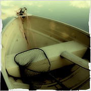 Musky Photo Posters - Square Polaroid Fishing Boat Poster by Birgit Tyrrell
