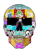 Scull Posters Framed Prints - Square Scull Framed Print by Mauro Celotti
