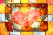 Lively Posters - Squared Heart Poster by Carol Leigh