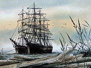 Tall Ship Painting Prints - Squarerigger Cove Print by James Williamson