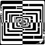 Pathways Drawings - Squares and Rounded Squares Madness Maze by Yonatan Frimer Maze Artist