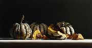 American Food Painting Prints - SQUASH sweet dumpling Print by Larry Preston