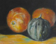 Oil On Masonite Posters - Squash With Oranges Poster by Timi Johnson