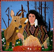 Acrylic Art Tapestries - Textiles Prints - Squaw with Deer Print by Linda Egland