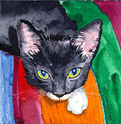 Tuxedo Cat Painting Framed Prints - Squeak The Wonder Cat Framed Print by John Norman Stewart