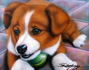 Doggies Paintings - Squeaker by Darren Robinson