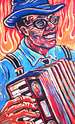 Angel Blues  Posters - Squeezebox Blues Poster by Robert Ponzio