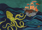 Pirate Ship Posters - Squid VS Platypus Poster by Kate Cosgrove