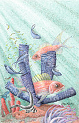 Sun Rays Drawings Prints - Squirrel Fish Reef Print by Wayne Hardee