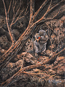 Rock  Painting Originals - Squirrel-ly by Ricardo Chavez-Mendez