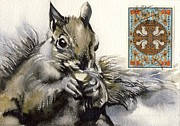 Alfred Ng - squirrel painting with stamps