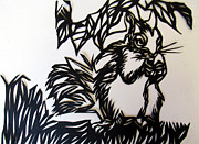 Cut Out Mixed Media - Squirrel Paper Cut by Alfred Ng