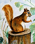 Zelma Hensel Posters - Squirrel Poster by Zelma Hensel
