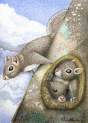 Nuts Paintings - Squirrels by Wayne Hardee