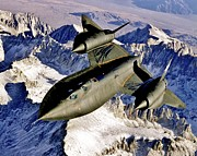 Sr-71 Posters - SR-71 Over The Sierras Poster by Benjamin Yeager