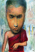 Character Portraits Paintings - Sri Lankan Monk - 2012 by Nalidsa Sukprasert