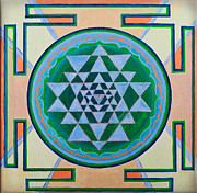 Buddha Drawing Prints - Sri Yantra for Meditation painted Print by Raimond Klavins