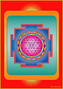Radiating Digital Art - Sri Yantra by Marcy Gold