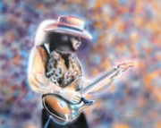 Guitars Paintings - SRV - Scuttle Buttin by Chris Fraser