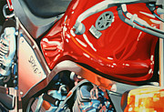 Motorcycle Racing Art Painting Framed Prints - SRX-6 side Framed Print by Guenevere Schwien