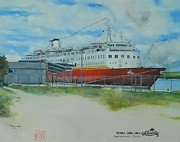 Navigation Paintings - ss Atlantic in Port Canaveral Florida  by Kenneth Harris
