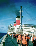 Engine Photo Originals - SS United States Boat Drill by Jan Faul