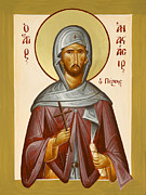 Julia Bridget Hayes Painting Metal Prints - St Anastasios the Persian Metal Print by Julia Bridget Hayes