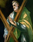 Catholic Icon Painting Framed Prints - St Andrew Framed Print by El Greco Domenico Theotocopuli