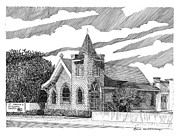 Church Drawings Originals - St Andrews Las Cruces NM by Jack Pumphrey