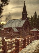 Headstones Metal Prints - St Annes Church In Winter Metal Print by Randy Hall