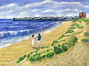 Holiday Paintings - St Annes On Sea Pier and Sand Dunes by Ronald Haber