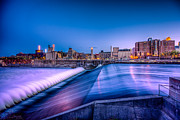 Minneapolis Skyline Prints - St. Anthony Falls in Minneapolis Print by Mark Goodman
