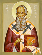 Julia Bridget Hayes Painting Metal Prints - St Athanasios the Great Metal Print by Julia Bridget Hayes
