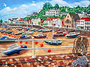 Fishing Boats Paintings - St Aubins Harbour - Jersey by Ronald Haber