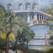 Florida Bridge Originals - St Augustine Bridge of Lions by Mary Hubley