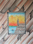 Sailboats Drawings - St. Augustine Fort by Tom Rechsteiner