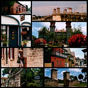 St. Augustine Prints - St Augustine in Florida - 1 Collage Print by Susanne Van Hulst