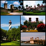 Florida Bridge Photos - St Augustine in Florida - 2 Collage by Susanne Van Hulst