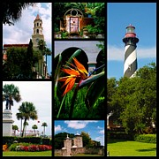 Historic Statue Framed Prints - St Augustine in Florida - 3 Collage Framed Print by Susanne Van Hulst