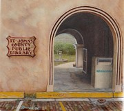 Library Paintings - St Augustine Library four inches square by Buzz  Coe