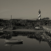 Shotwell Photography Prints - St. Augustine Lighthouse Beach Early Morning monochrome Print by Kathi Shotwell