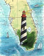 Map Art Painting Posters - St Augustine Lighthouse FL Chart Map Art Cathy Peek Poster by Cathy Peek