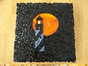 Sunset Glass Art Originals - St Augustine Lighthouse Under A Harvest Moon by Maggie Deitsch