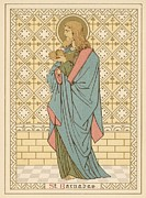 Prayer Drawings Prints - St Barnabas Print by English School