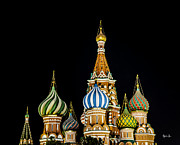 St Photos - St. Basils Cathedral at Night by Madeline Ellis